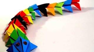 Оригами Дракон. Поделки из бумаги для детей. Оригами для начинающих.