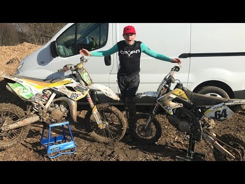 Motocross Practice On Husqvarna TC 85 cc Dirt Bike
