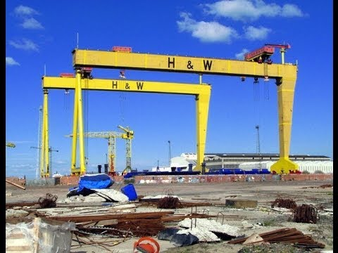 View of world famous Harland & Wolff cranes in Belfast Northern Ireland.