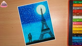 How to Draw Eiffel Tower Step by Step   Eiffel Tower Scenery Drawing With Oil Pastels - Step by Step