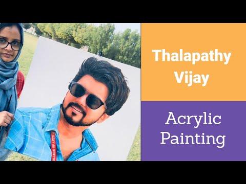 Actor Vijay painting  thalapathypainting shamlifaizal acrylic on canvas