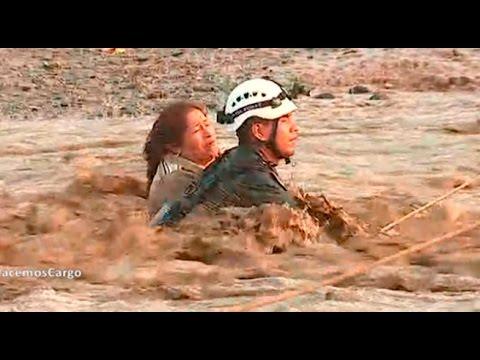 Carapongo: el impresionante rescate a una mujer arrastrada por el río