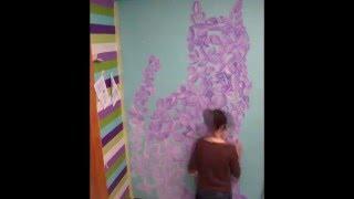 Сиреневый кот. Аэрография на стене. lilac cat