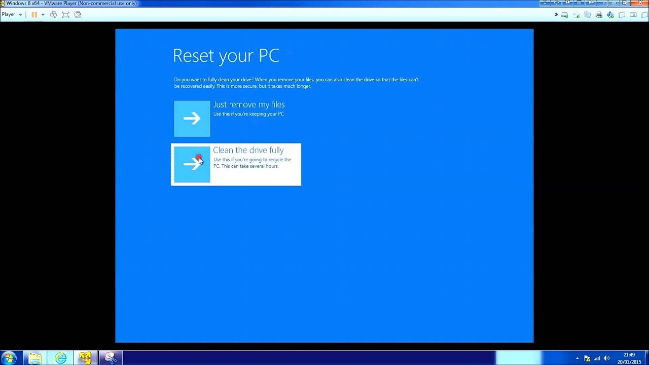 Windows 8 1 Reset and using Cleaning the Drive Fully - YouTube