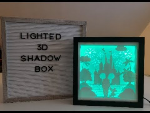How to make Lighted 3D shadow box with card stock and LED light tutorial video