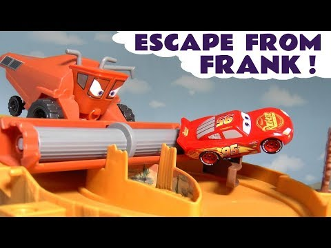Cars Lightning McQueen in Escape From Frank Race with Superhero Cars and funny Funlings TT4U