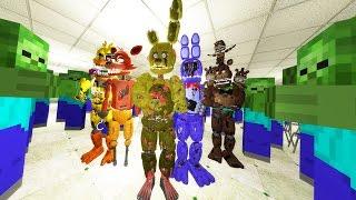 ANIMATRONICS FIGHT OFF MINECRAFT ZOMBIE ARMY! (Gmod For Kids FNAF Sandbox Funny Moments)