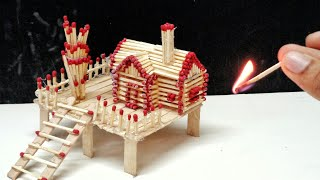 How to Build Matchstick House at Home  Match House Fire Match House Fire at Home - Match Stick House