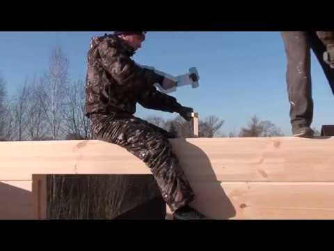 Сборка деревянного дома на нагели, крепление сруба нагелями, как собрать сруб,#деревянныедомаМогута