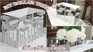 DOLLAR TREE DIY GLAM MIRROR DECOR | BLING CENTERPIECE | DIY HOME DECOR IDEA 2019