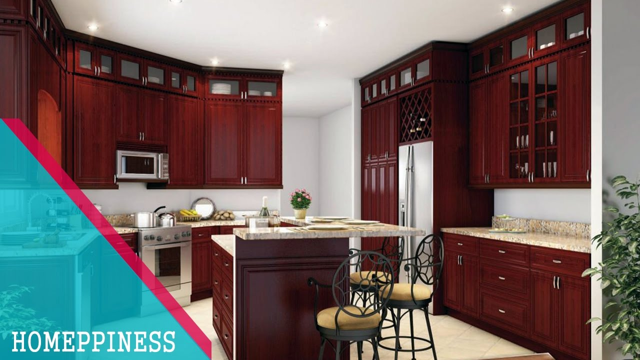 Hand Crafted Solid Cherry (Stained Cabin Red) Kitchen ... |Red Cherry Kitchen Cabinets