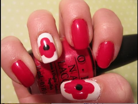 Tutorial Remembrance Day Poppy Nail Art Youtube