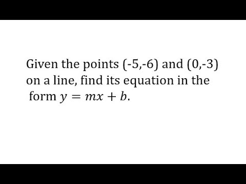 Determine a Linear Equation in Slope-Intercept Form Given Two Points with (0,b) thumbnail