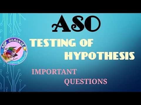 Testing of hypothesis important questions / MCQ for ASO
