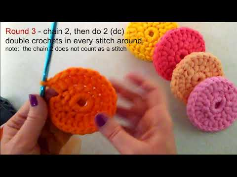 How To Crochet Round Tulle Dish Scrubber Dish Scrubby Tutorial With Instruction Notes