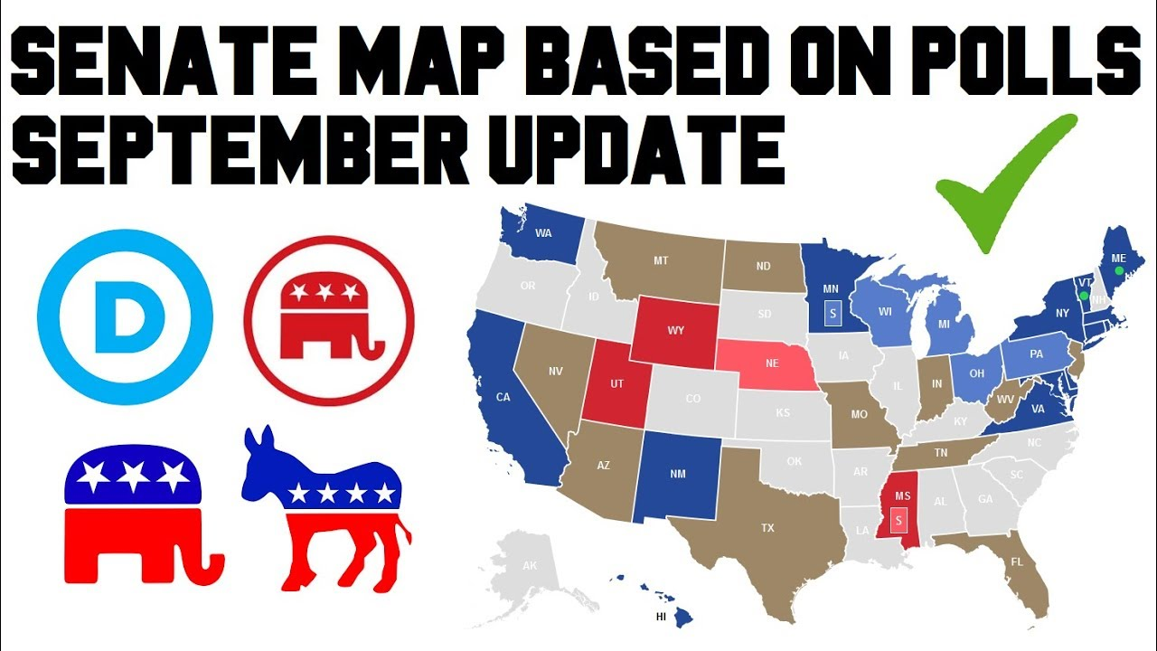 Midterm Election Predictions >> 2018 Senate Polling Results Predictions Midterm Elections - Senate Map Race Analysis September ...