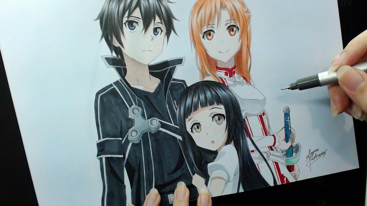 Speed drawing kirito asuna and yui sword art online youtube