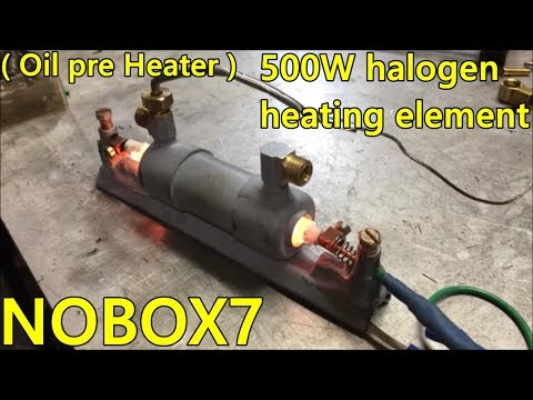 Waste oil burner inline pre heater