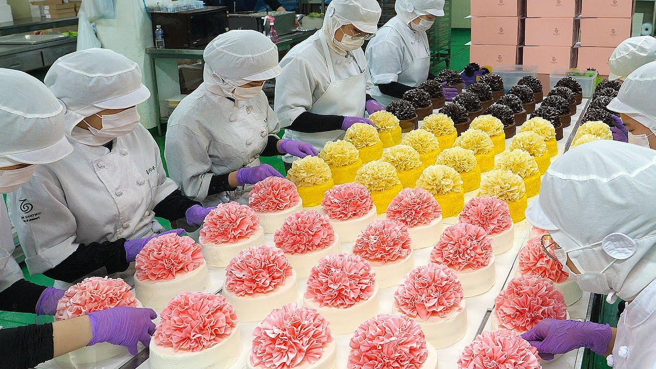아름답습니다! 케익공장에서 대량으로 만드는 카네이션 3종 케익 / Elegant beauty! Carnation Flower Cake-Cake Factory