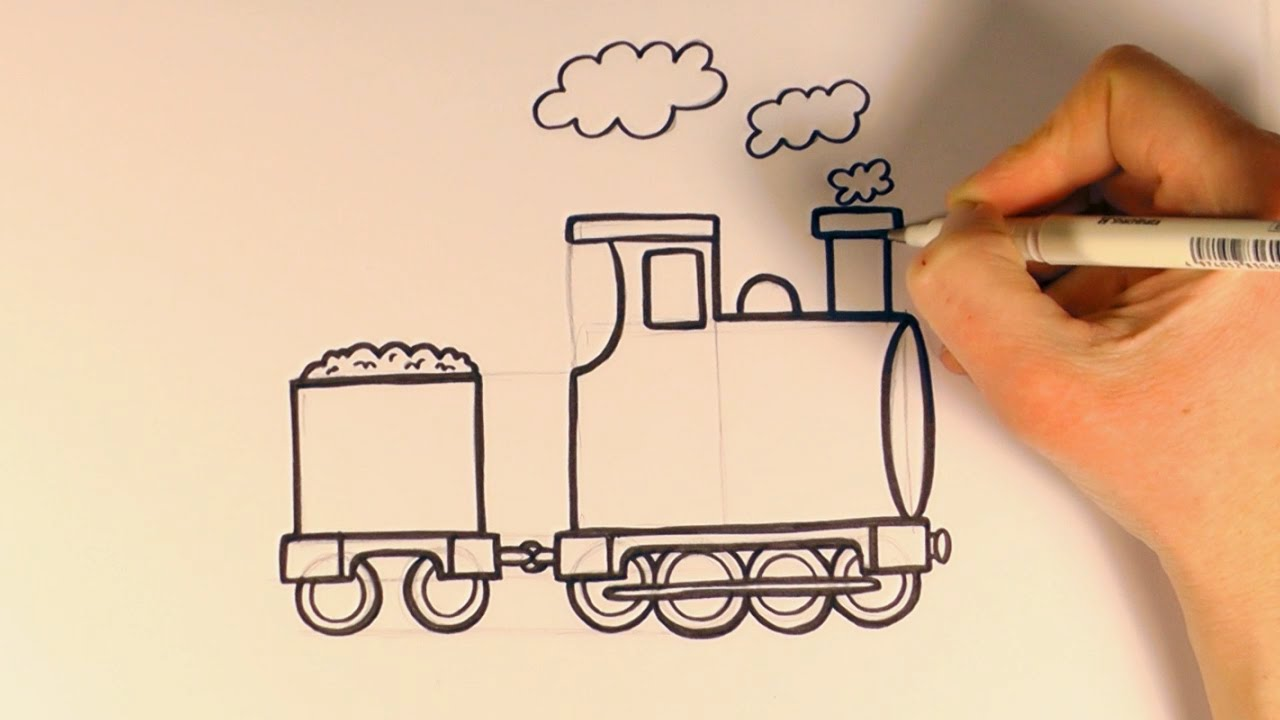 How To Draw A Cartoon Train Youtube