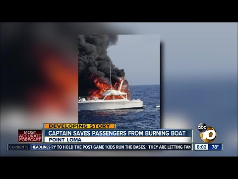 Captain saves passengers from burning fishing boat on San Diego coast