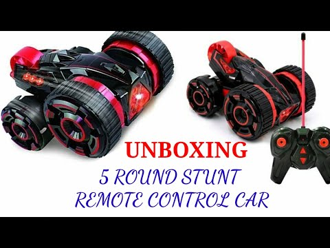 5 ROUND STUNT 360° REMOTE CONTROL DOUBLE SIDE LED CAR UNBOXING REVIEW