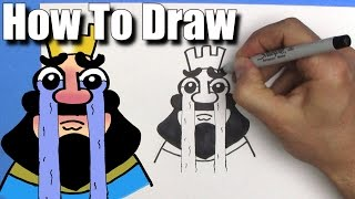 How To Draw the Crying King from Clash Royale- EASY  - Step By Step