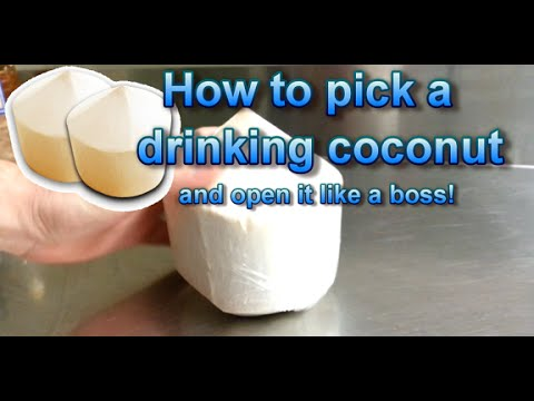 How To Pick And Open A Drinking Coconut Like A BOSS!