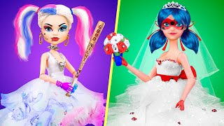 12 DIY Barbie Hacks and Crafts / Ladybag vs Harley Quinn