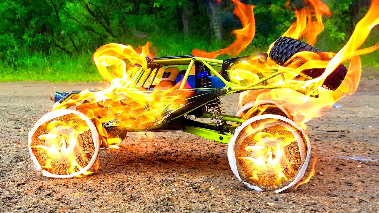 RC CAR on FIRE - Experiments with CUSTOM Wheels