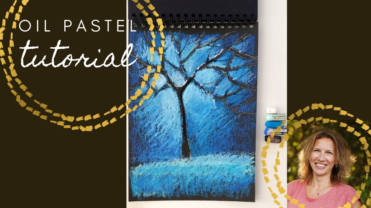 How to draw a winter tree with oil pastel