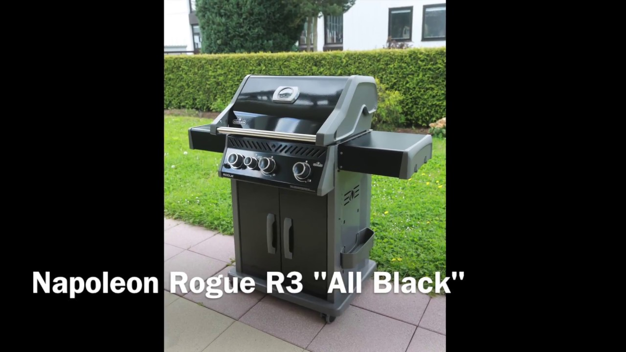 napoleon rogue r3 all black gasgrill youtube. Black Bedroom Furniture Sets. Home Design Ideas