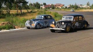 Citroen 11B overtakes Bentley R Type.  Retro cars tough racing.  Renault Fregate.