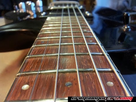 Leveling, crowning and dressing the frets of a worn PRS guitar fretboard
