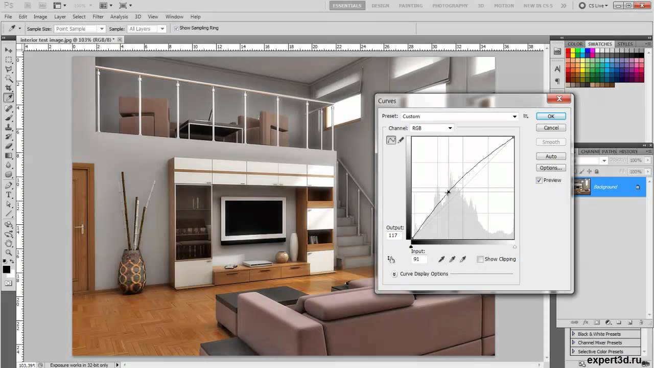 Photoshop - interior render enchancement - YouTube