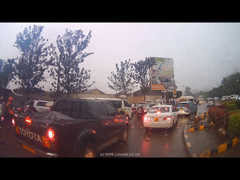 Kampala drive under rain