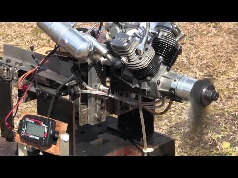 40ccm V-Twin Gas Engine Idling