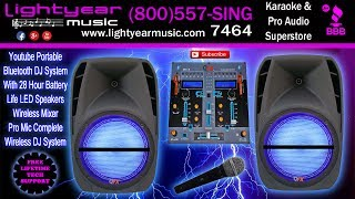 Youtube Portable Bluetooth DJ System With 28 Hour Battery Life LED Speakers And Pro Mic Complete ✅