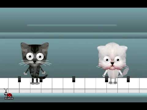 Happy Birthday Free Funny Ecards Animated Cats Dancing On A Piano