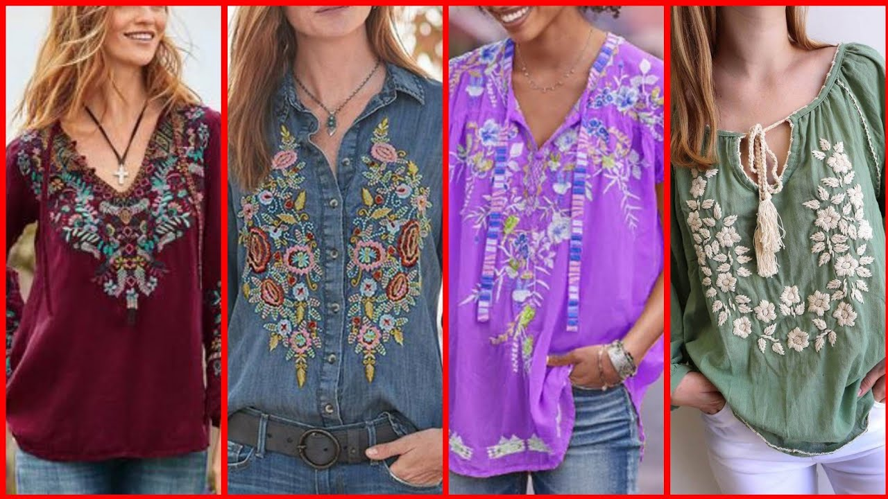 [VIDEO] - Most Attractive and Affordable Embroidered Tunic Top Designs for Girls 7