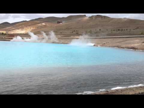 A Hot Sulphur Lake in N Iceland - Myvatn lake Area - July 8, 2012