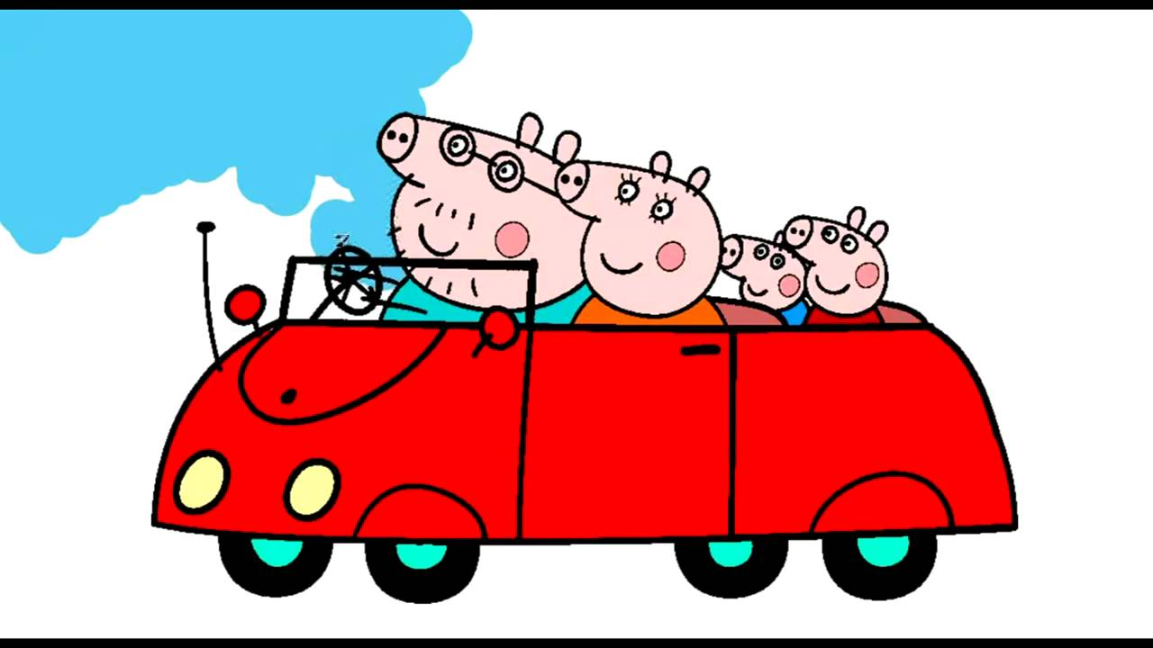 Peppa Pig Family Car Coloring Pages For Kids Peppa Pig Coloring Book