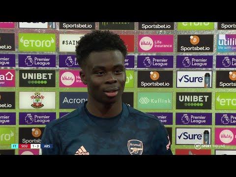 """""""Arteta makes it easy for me!"""" Bukayo Saka reacts to Southampton 1-3 Arsenal"""