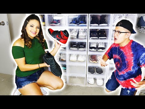 WIFE SHOWS OFF HUSBANDS ENTIRE SNEAKER COLLECTION!!