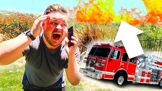 BRUSH FIRE EMERGENCY! CALLING THE FIRE DEPARTMENT!