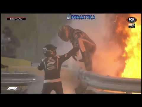 Ο Χάμιλτον κερδίζει το GP F1 του Μπαχρέιν. ( O Γάλλος που βγήκε από τις φλόγες )(βιντεο)