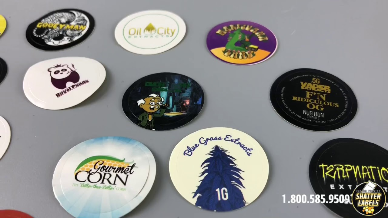 Custom printed 1 inch round full color stickers by shatter labels only 99 per 1000