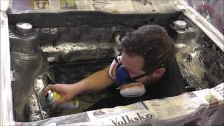 ERG VW Cabby 1.8T: Enginebay Painting, DIY Paint booth!  [PT04]
