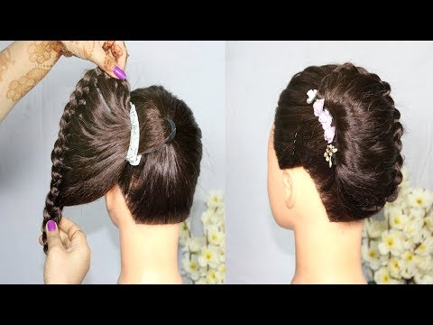New French Bun Hairstyle for girls || French Roll Hairstyle With Clutcher || Hairstyles 2019 thumbnail