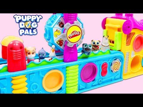 Disney Jr Puppy Dog Pals Use Magic Play Doh Mega Fun Factory Playset to Make Surprise Toys!